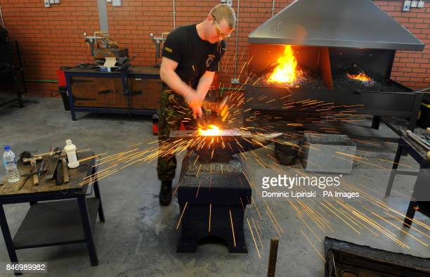 Lance Bombardier Mark French at work in the King's Troop Royal Horse Artillery's forge at Napier Lines a new purposebuilt barracks and training...
