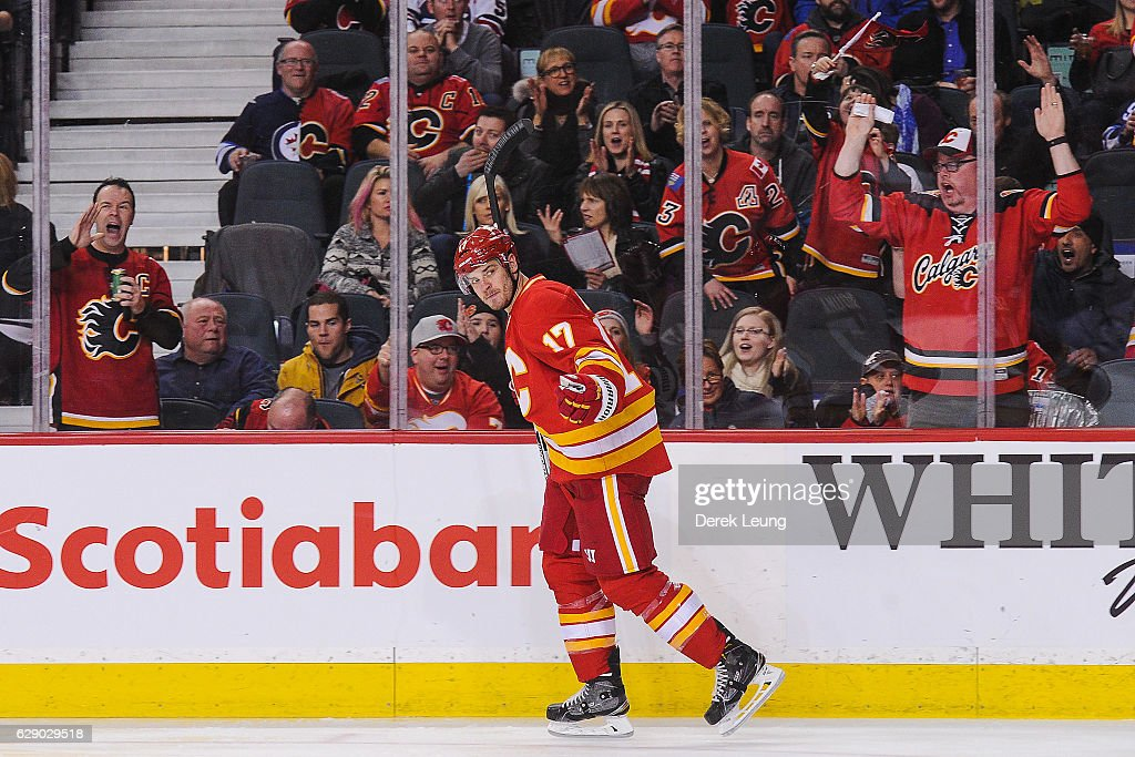 Lance Bouma #17 of the Calgary Flames celebrates after scoring against the Winnipeg Jets during an NHL game at Scotiabank Saddledome on December 10, 2016 in Calgary, Alberta, Canada.