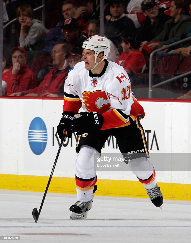 Lance Bouma #17 of the Calgary Flames skates against the New Jersey Devils at the Prudential Center on April 7, 2014 in Newark, New Jersey. The Flames shutout the Devils 1-0.