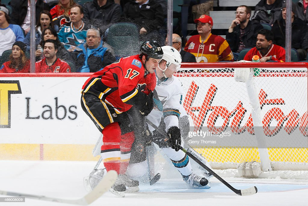 <a gi-track='captionPersonalityLinkClicked' href=/galleries/search?phrase=Lance+Bouma&family=editorial&specificpeople=4303790 ng-click='$event.stopPropagation()'>Lance Bouma</a> #17 of the Calgary Flames skates against the San Jose Sharks at Scotiabank Saddledome on January 30, 2014 in Calgary, Alberta, Canada.