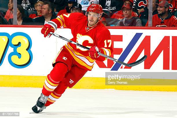 Lance Bouma of the Calgary Flames skates against the St Louis Blues during an NHL game on October 22 2016 at the Scotiabank Saddledome in Calgary...