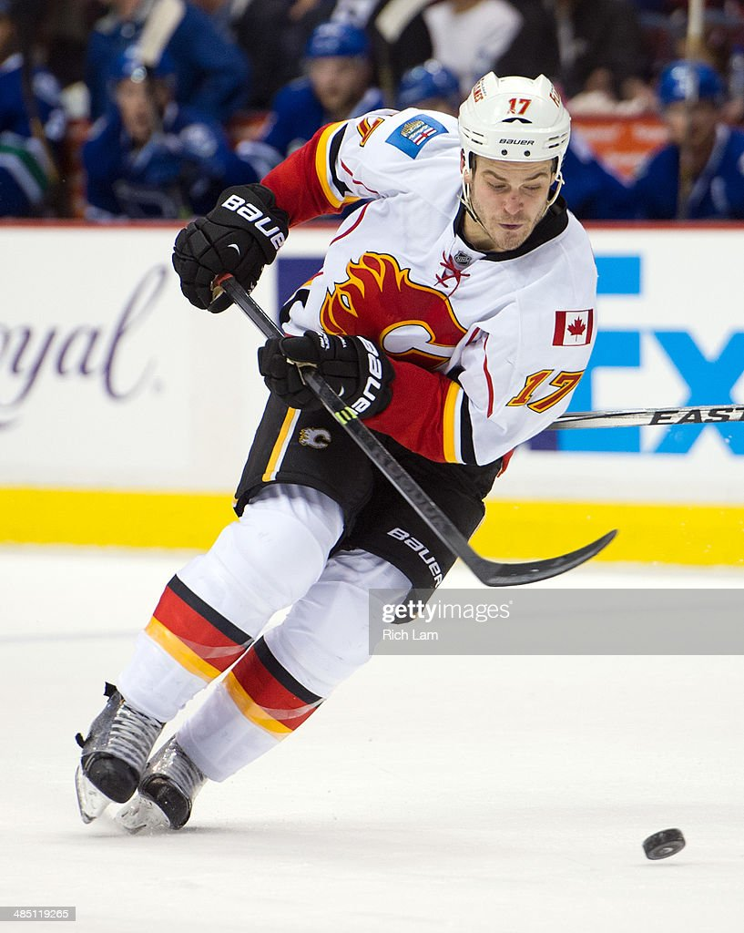 Lance Bouma #17 of the Calgary Flames skates with the puck during NHL action against the Vancouver Canucks on April 13, 2014 at Rogers Arena in Vancouver, British Columbia, Canada.