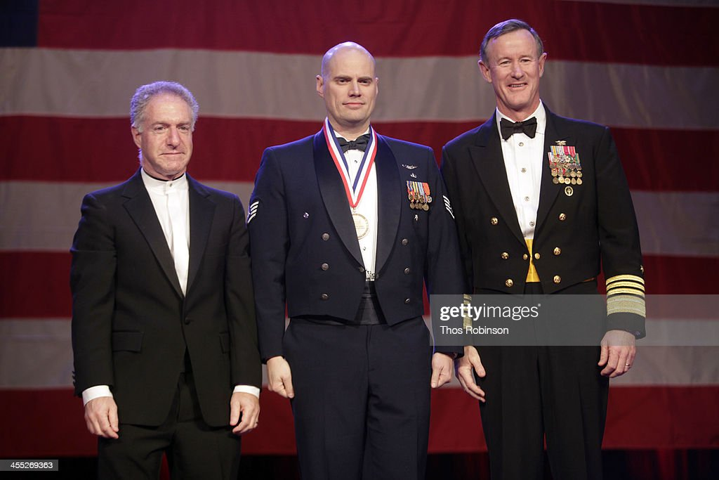 Lance Boxer, USO CEO, staff sergeant Nicholas Gibson, and admiral William McRaven attend 52nd USO Armed Forces Gala & Gold Medal Dinner at Marriott Marquis Times Square on December 11, 2013 in New York City.