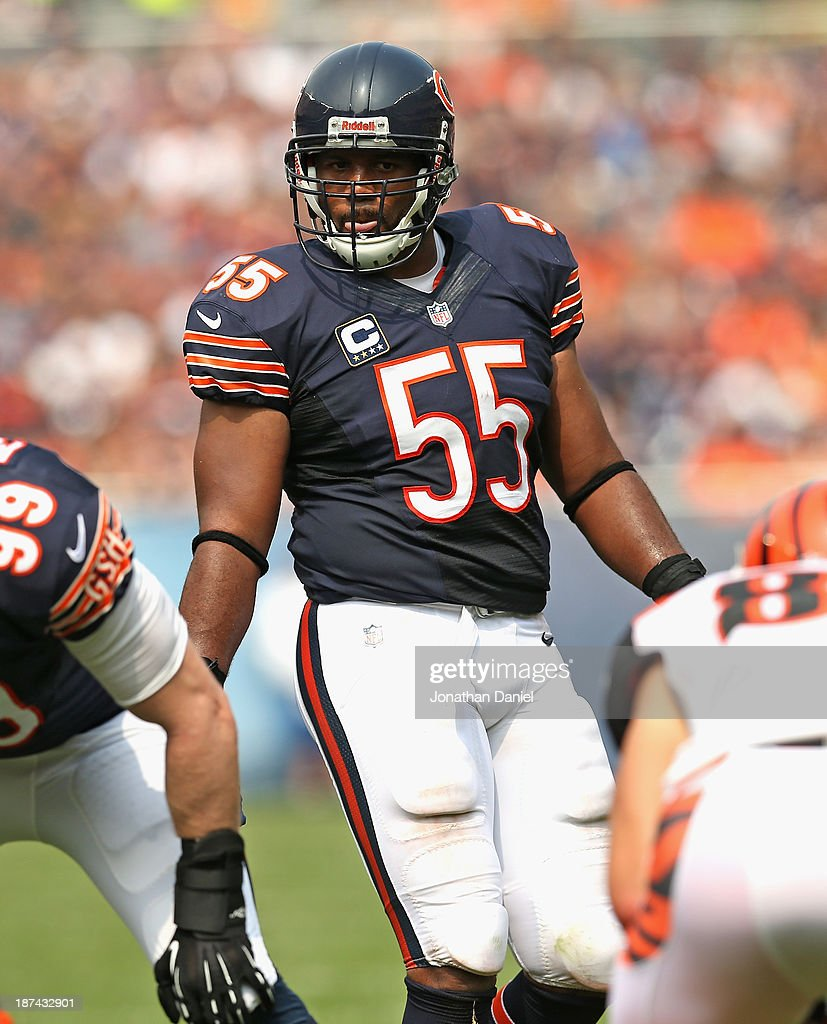 <a gi-track='captionPersonalityLinkClicked' href=/galleries/search?phrase=Lance+Briggs&family=editorial&specificpeople=210780 ng-click='$event.stopPropagation()'>Lance Briggs</a> #55 of the Chicago Bears awaits the snap against the Cincinnati Bengals at Soldier Field on September 8, 2013 in Chicago, Illinois. The Bears defeated the Bengals 24-21.