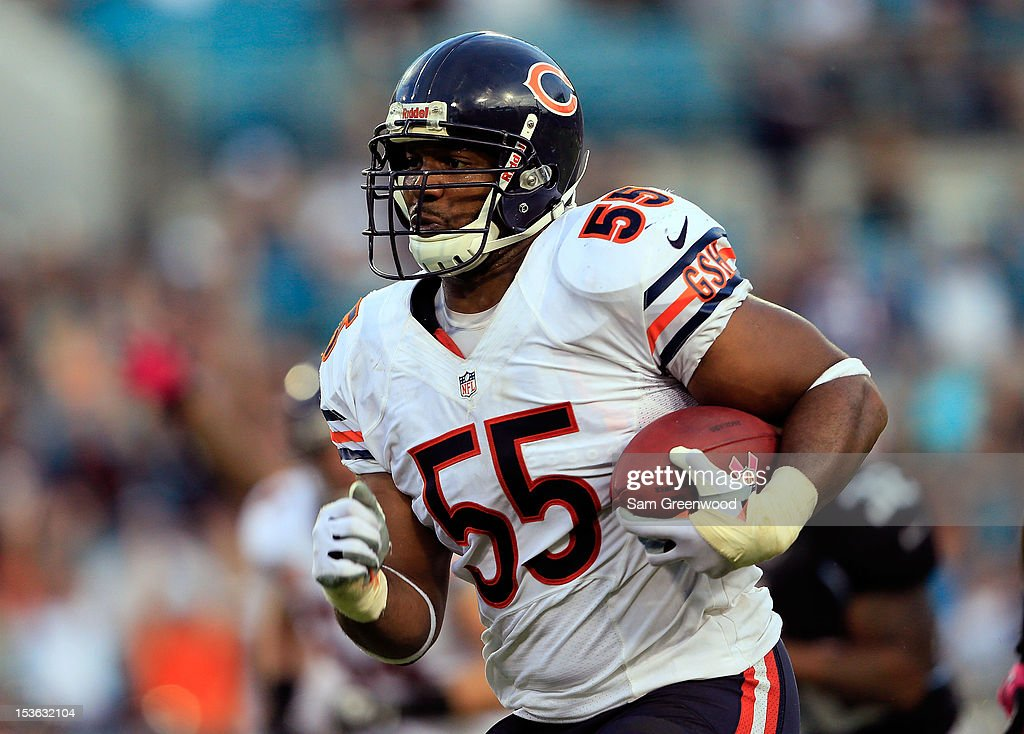 Lance Briggs #55 of the Chicago Bears returns an interception for a touchdown during the game against the Jacksonville Jaguars at EverBank Field on October 7, 2012 in Jacksonville, Florida.