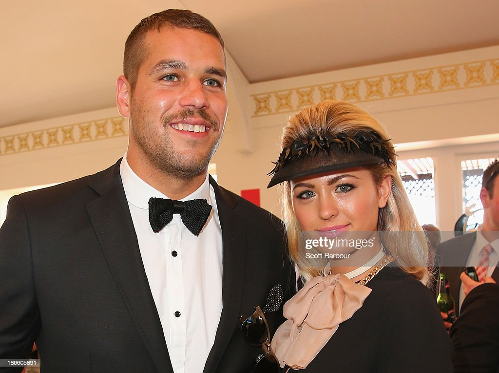 Lance 'Buddy' Franklin and <a gi-track='captionPersonalityLinkClicked' href=/galleries/search?phrase=Jesinta+Campbell&family=editorial&specificpeople=7056645 ng-click='$event.stopPropagation()'>Jesinta Campbell</a> attend the Emirates marquee on Victoria Derby Day at Flemington Racecourse on November 2, 2013 in Melbourne, Australia.