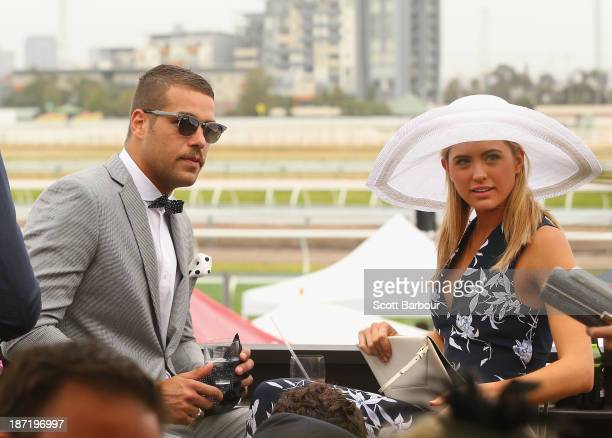 Lance 'Buddy' Franklin and Jesinta Campbell attend the Emirates marquee during Oaks Day at Flemington Racecourse on November 7 2013 in Melbourne...