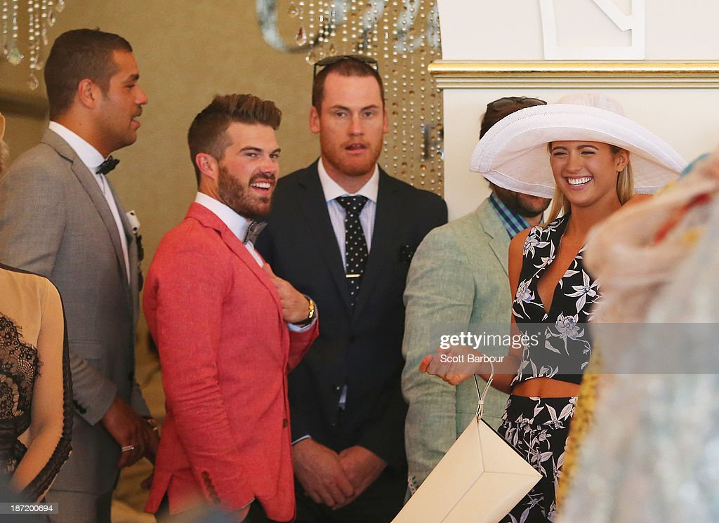 Lance 'Buddy' Franklin, Kyle Pendreigh, Jarryd Roughead, Gyton Grantley and <a gi-track='captionPersonalityLinkClicked' href=/galleries/search?phrase=Jesinta+Campbell&family=editorial&specificpeople=7056645 ng-click='$event.stopPropagation()'>Jesinta Campbell</a> attend the Emirates marquee during Oaks Day at Flemington Racecourse on November 7, 2013 in Melbourne, Australia.