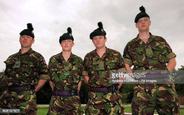 Lance Corporal Chris Somerville Lance Corporal Jonathan McConachae Ranger Conor Murphy and Ranger Brendon O'Mahony at Clive Barracks Ternhill...