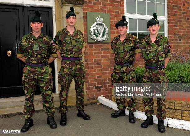 Lance Corporal Chris Somerville Ranger Brendon O'Mahony Ranger Conor Murphy and Lance Corporal Jonathan McConachae at Clive Barracks Ternhill...