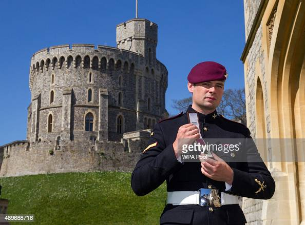 Lance Corporal Joshua Leakey holding his Victoria Cross after it was awarded to him by the Queen at an investiture ceremony at Windsor Castle on...