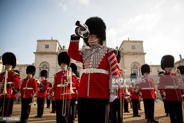 Lance Corporal Liam SeerBoylan of the 1st Battalion Grenadier Guards holds an original Waterloo Bugle during the official launch of this summer's...