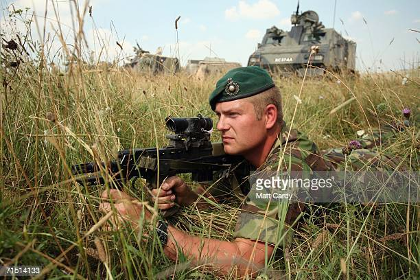 Lance Corporal Patterson exercises with 3 Commando Brigade Royal Marines at Westdown Camp Salisbury Plain on July 25 2006 in Tilshead Wiltshire...