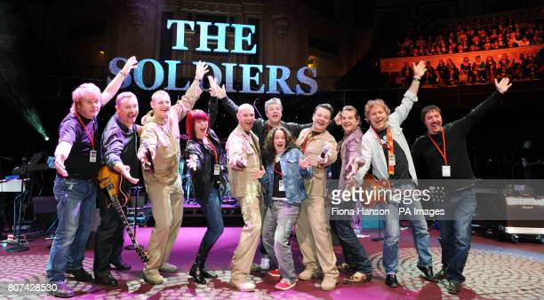Lance Corporal Ryan Idzi Sergeant Major Gary Chilton and Sergeant Richie Maddocks at rehearsals with their band at the Royal Albert Hall during their...