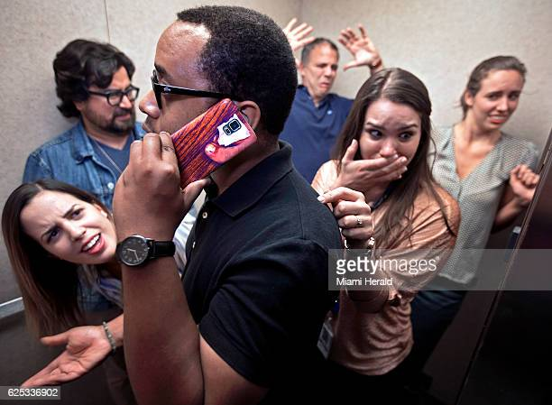 Lance Dixon on the phone rock the Ingrown Toenail Cell Phone Cover while from left Chabeli Herrera Joey Flechas Carlos Frias Monique Madan and Alex...