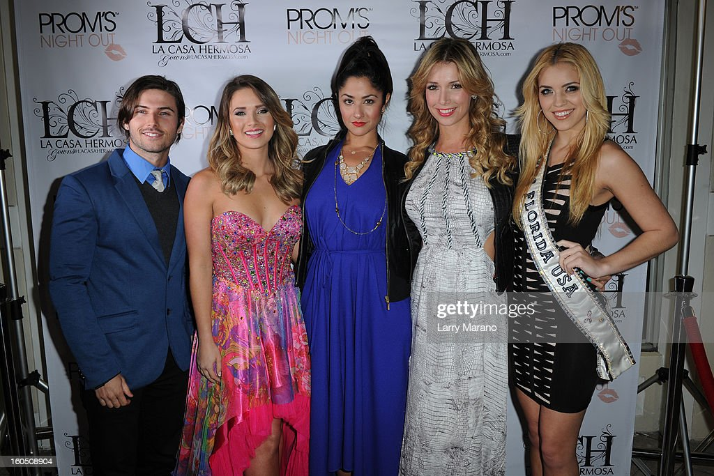 Lance Dos Ramos, Kimberly Dos Ramos, Karla Birbragher, Alessandra Villegas and Michelle Aguirre attend Prom's Night Out At La Casa Hermosa on February 1, 2013 in Wellington, Florida.