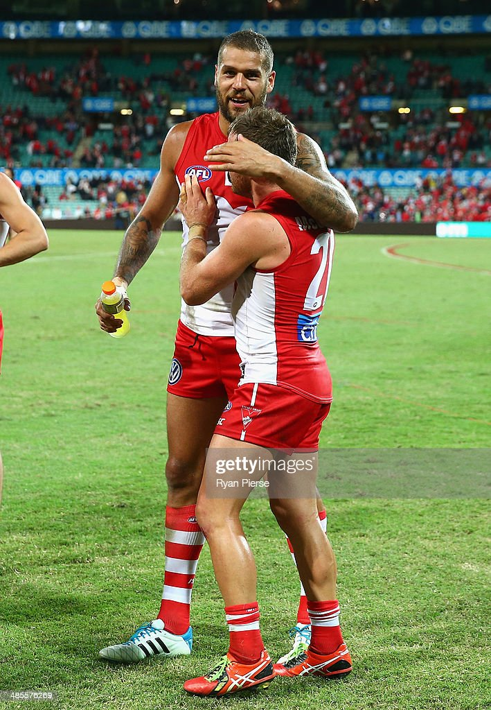 Lance Franklin and Ben McGlynn of the Swans celebrate after the round five AFL match between the Sydney Swans and the Fremantle Dockers at Sydney Cricket Ground on April 19, 2014 in Sydney, Australia.