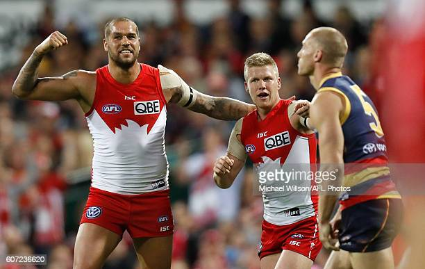 Lance Franklin and Dan Hannebery of the Swans celebrate during the 2016 AFL First Semi Final match between the Sydney Swans and the Adelaide Crows at...
