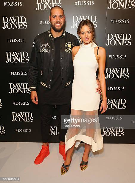 Lance Franklin and Jesinta Campbell arrive at the David Jones Spring/Summer 2015 Fashion Launch on August 5 2015 in Sydney Australia