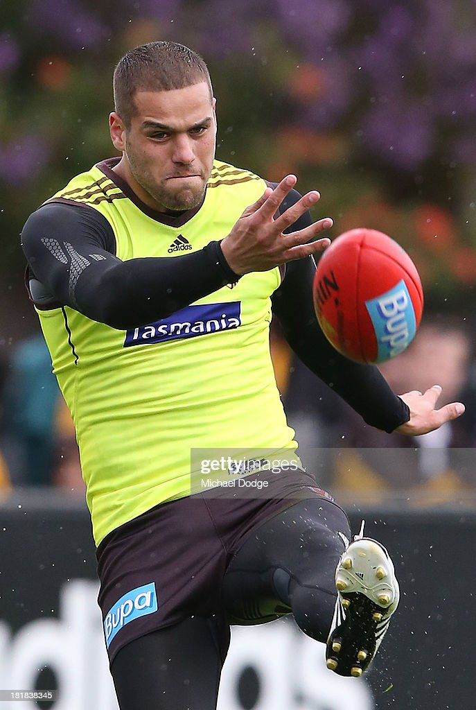 <a gi-track='captionPersonalityLinkClicked' href=/galleries/search?phrase=Lance+Franklin&family=editorial&specificpeople=561332 ng-click='$event.stopPropagation()'>Lance Franklin</a> kicks the ball during a Hawthorn Hawks AFL training session at Waverley Park on September 26, 2013 in Melbourne, Australia.