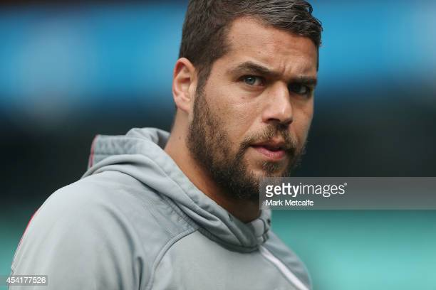 Lance Franklin looks on during a Sydney Swans AFL training session at Sydney Cricket Ground on August 26 2014 in Sydney Australia