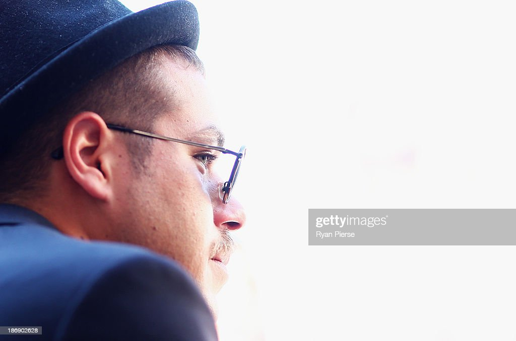 <a gi-track='captionPersonalityLinkClicked' href=/galleries/search?phrase=Lance+Franklin&family=editorial&specificpeople=561332 ng-click='$event.stopPropagation()'>Lance Franklin</a> looks on in the Emirates Marquee during Melbourne Cup Day at Flemington Racecourse on November 5, 2013 in Melbourne, Australia.