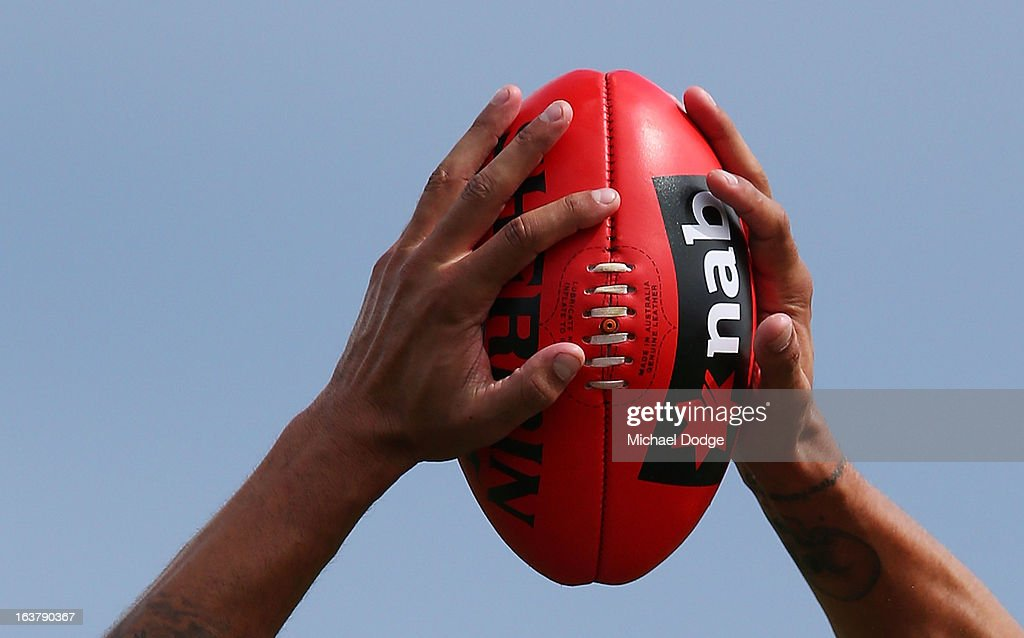 <a gi-track='captionPersonalityLinkClicked' href=/galleries/search?phrase=Lance+Franklin&family=editorial&specificpeople=561332 ng-click='$event.stopPropagation()'>Lance Franklin</a> marks the ball during the AFL NAB Cup match between the North Melbourne Kangaroos and the Hawthorn Hawks at Highgate Recreational Reserve on March 16, 2013 in Craigieburn, Australia.