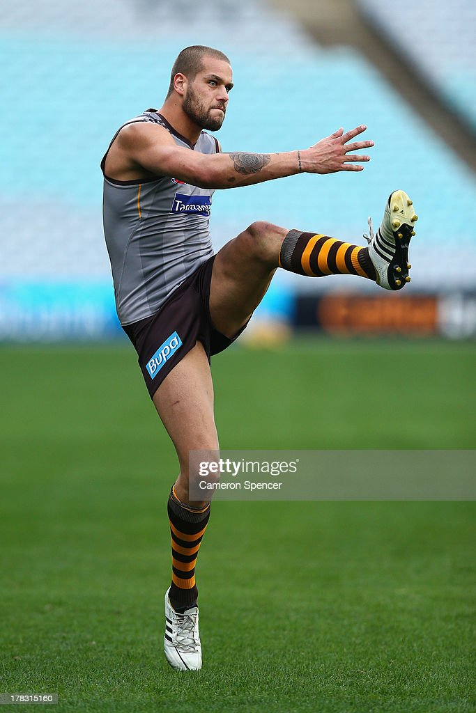 <a gi-track='captionPersonalityLinkClicked' href=/galleries/search?phrase=Lance+Franklin&family=editorial&specificpeople=561332 ng-click='$event.stopPropagation()'>Lance Franklin</a> of the Hawks kicks during a Hawthorn Hawks AFL training session at ANZ Stadium on August 29, 2013 in Sydney, Australia.