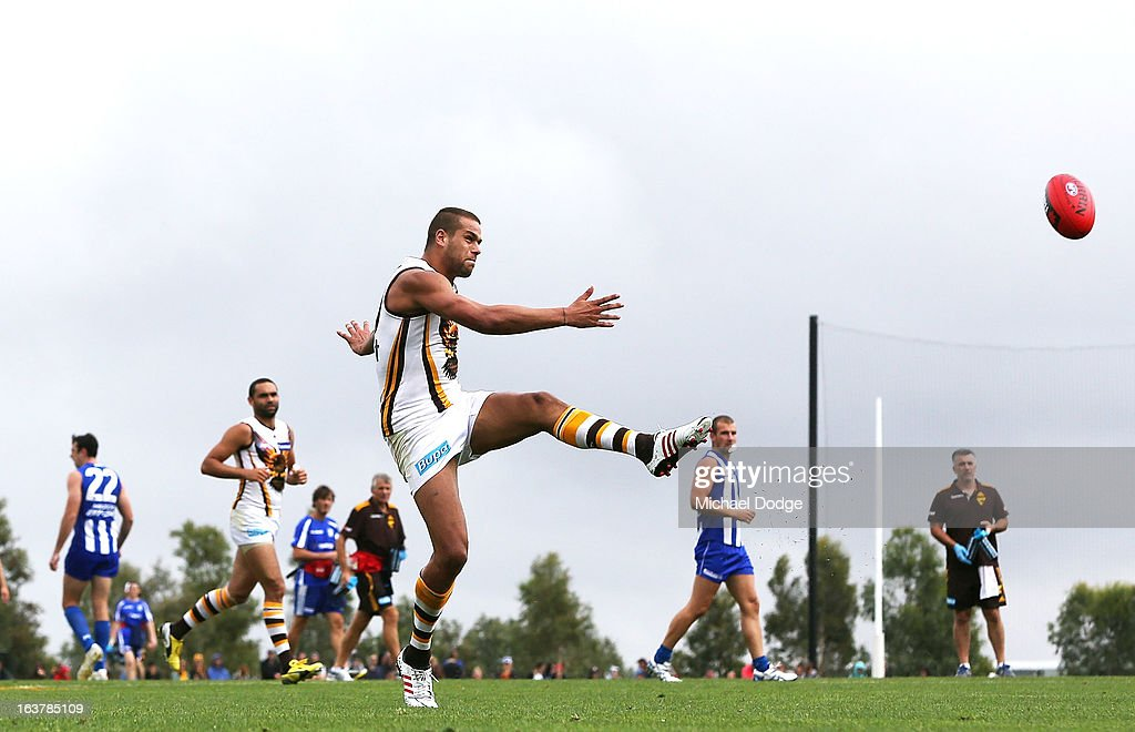 Lance Franklin of the Hawks kicks the ball during the AFL NAB Cup match between the North Melbourne Kangaroos and the Hawthorn Hawks at Highgate Recreational Reserve on March 16, 2013 in Craigieburn, Australia.