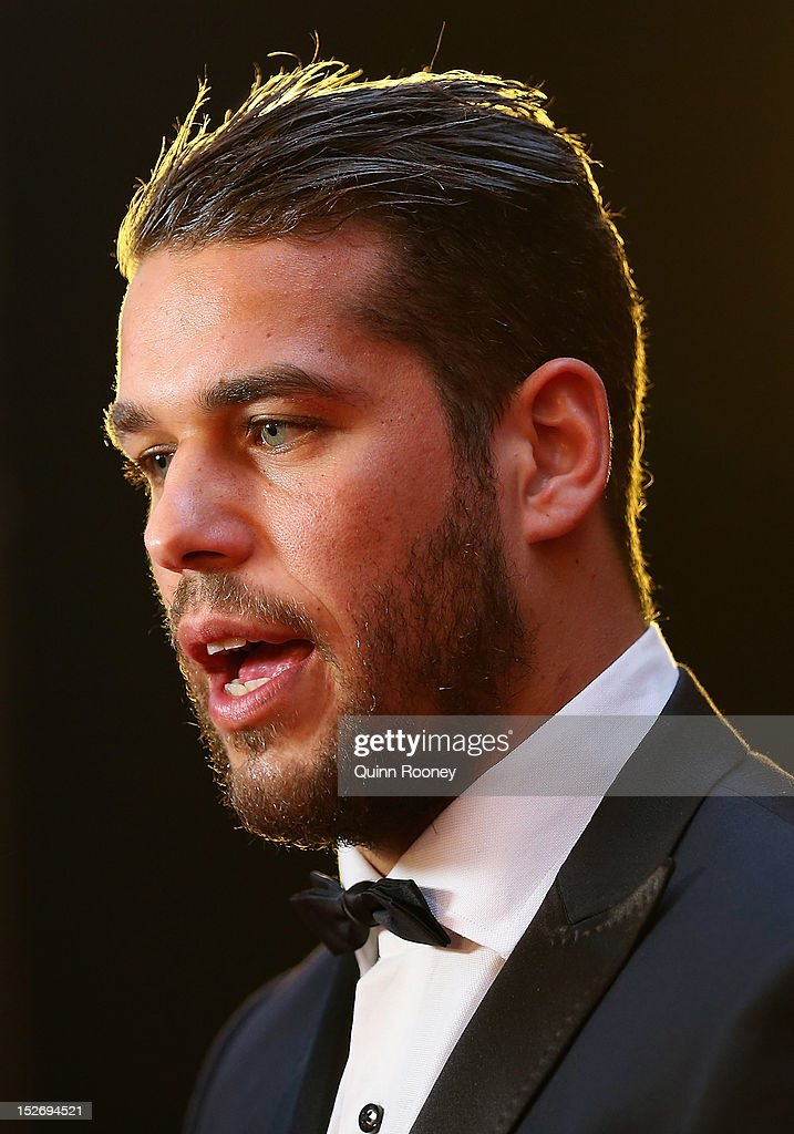 <a gi-track='captionPersonalityLinkClicked' href=/galleries/search?phrase=Lance+Franklin&family=editorial&specificpeople=561332 ng-click='$event.stopPropagation()'>Lance Franklin</a> of the Hawks poses ahead of the 2012 Brownlow Medal at Crown Palladium on September 24, 2012 in Melbourne, Australia.