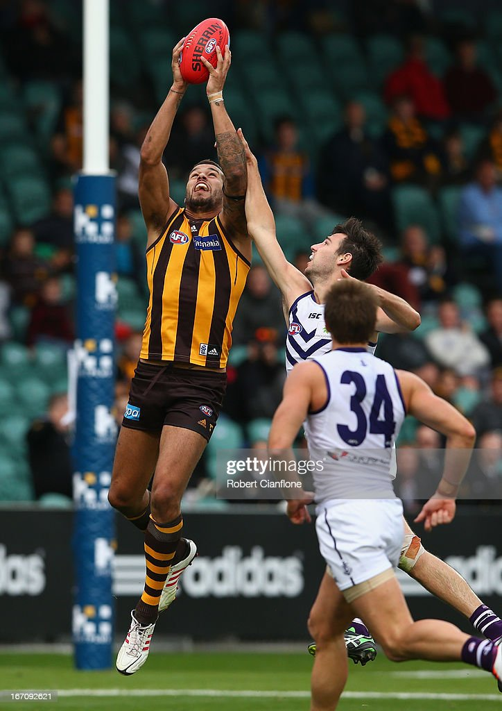 Lance Franklin of the Hawks takes a mark during the round four AFL match between the Hawthorn Hawks and the Fremantle Dockers at Aurora Stadium on April 20, 2013 in Launceston, Australia.