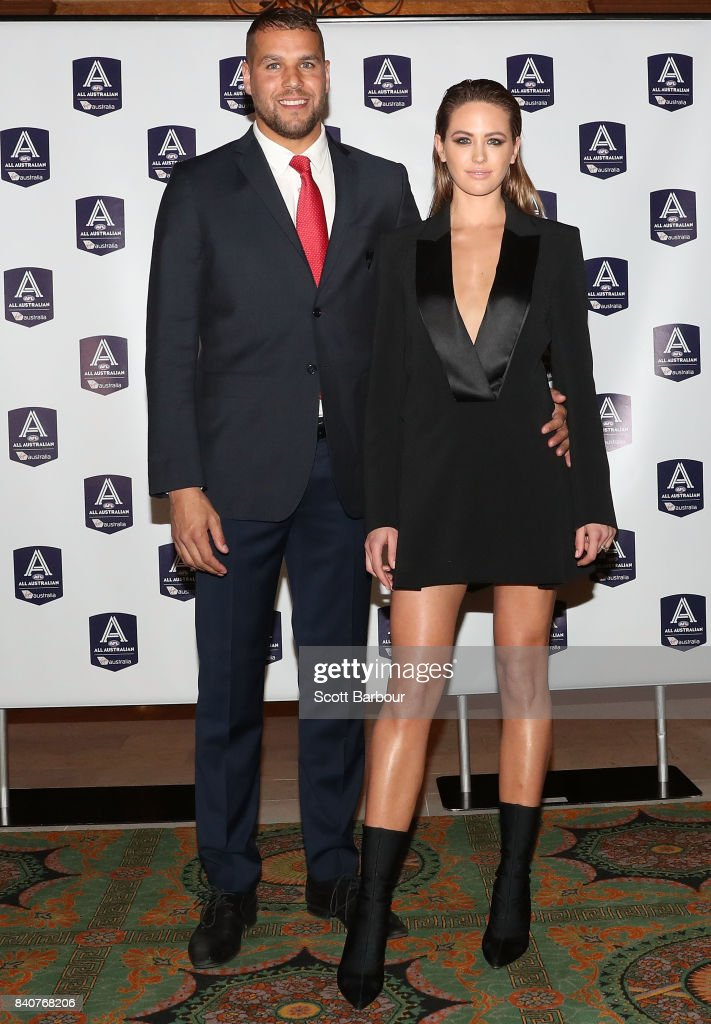 Lance Franklin of the Swans and Jesinta Franklin arrive during the AFL All Australian team announcement at the Palais Theatre on August 30, 2017 in Melbourne, Australia.