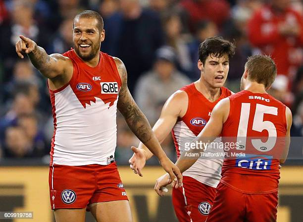Lance Franklin of the Swans celebrates a goal during the 2016 AFL Second Preliminary Final match between the Geelong Cats and the Sydney Swans at the...
