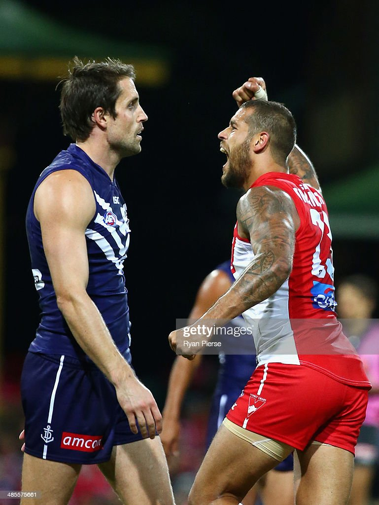 <a gi-track='captionPersonalityLinkClicked' href=/galleries/search?phrase=Lance+Franklin&family=editorial&specificpeople=561332 ng-click='$event.stopPropagation()'>Lance Franklin</a> of the Swans celebrates a goal during the round five AFL match between the Sydney Swans and the Fremantle Dockers at Sydney Cricket Ground on April 19, 2014 in Sydney, Australia.