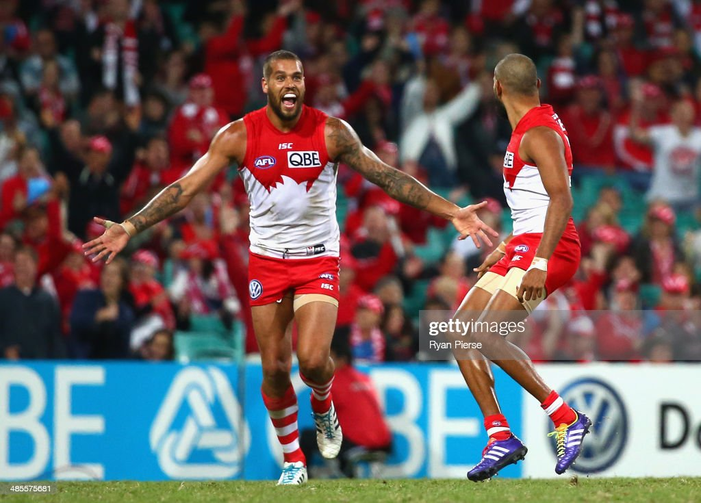 Lance Franklin of the Swans celebrates a goal during the round five AFL match between the Sydney Swans and the Fremantle Dockers at Sydney Cricket Ground on April 19, 2014 in Sydney, Australia.