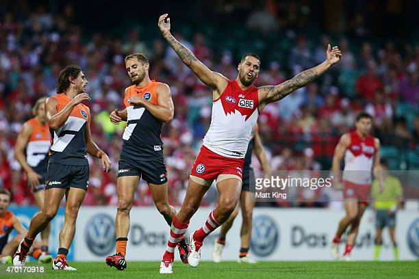 Lance Franklin of the Swans celebrates a goal during the round three AFL match between the Sydney Swans and the Greater Western Sydney Giants at SCG...
