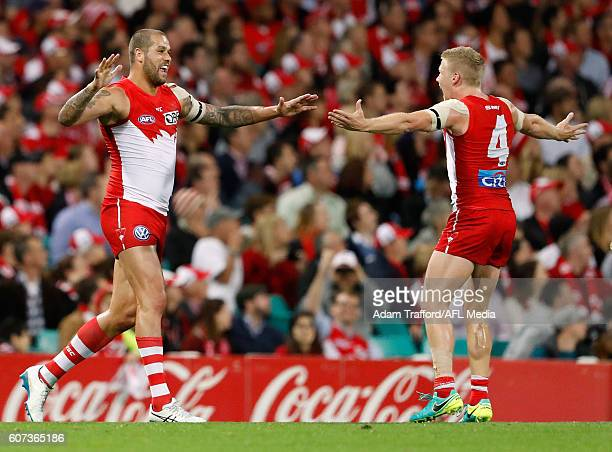 Lance Franklin of the Swans celebrates a goal with Dan Hannebery of the Swans during the 2016 AFL First Semi Final match between the Sydney Swans and...