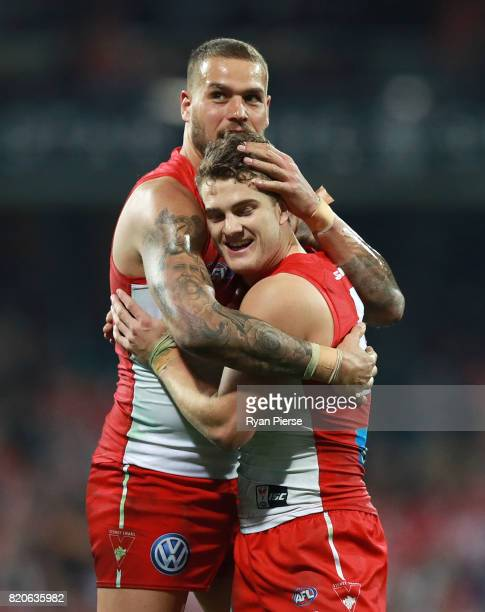 Lance Franklin of the Swans celebrates a goal with Tom Papley of the Swans during the round 18 AFL match between the Sydney Swans and the St Kilda...