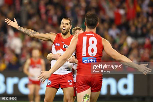 Lance Franklin of the Swans celebrates after kicking a goal during the round nine AFL match between the Hawthorn Hawks and the Sydney Swans at...