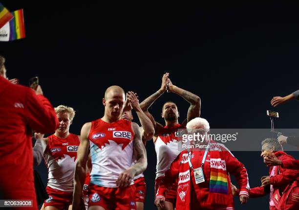 Lance Franklin of the Swans celebrates after the round 18 AFL match between the Sydney Swans and the St Kilda Saints at Sydney Cricket Ground on July...