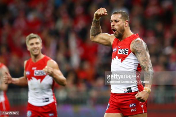 Lance Franklin of the Swans celebrates kicking a goal during the round 17 AFL match between the Greater Western Sydney Giants and the Sydney Swans at...