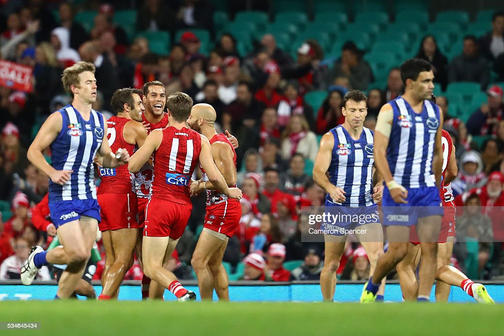 <a gi-track='captionPersonalityLinkClicked' href=/galleries/search?phrase=Lance+Franklin&family=editorial&specificpeople=561332 ng-click='$event.stopPropagation()'>Lance Franklin</a> of the Swans celebrates kicking a goal with team mates during the round 10 AFL match between the Sydney Swans and the North Melbourne Kangaroos at Sydney Cricket Ground on May 27, 2016 in Sydney, Australia.