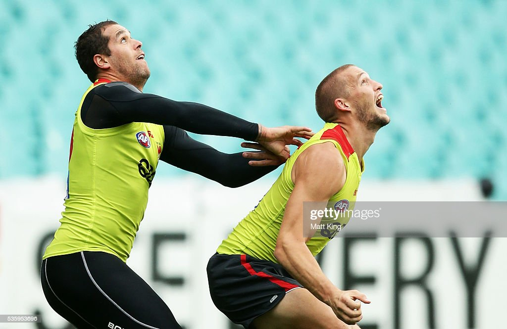 <a gi-track='captionPersonalityLinkClicked' href=/galleries/search?phrase=Lance+Franklin&family=editorial&specificpeople=561332 ng-click='$event.stopPropagation()'>Lance Franklin</a> of the Swans (L) competes against <a gi-track='captionPersonalityLinkClicked' href=/galleries/search?phrase=Sam+Reid+-+Australian+Rules+Football+Player+-+Born+1991&family=editorial&specificpeople=12776038 ng-click='$event.stopPropagation()'>Sam Reid</a> of the Swans (R) during a Sydney Swans AFL training session at Sydney Cricket Ground on May 31, 2016 in Sydney, Australia.
