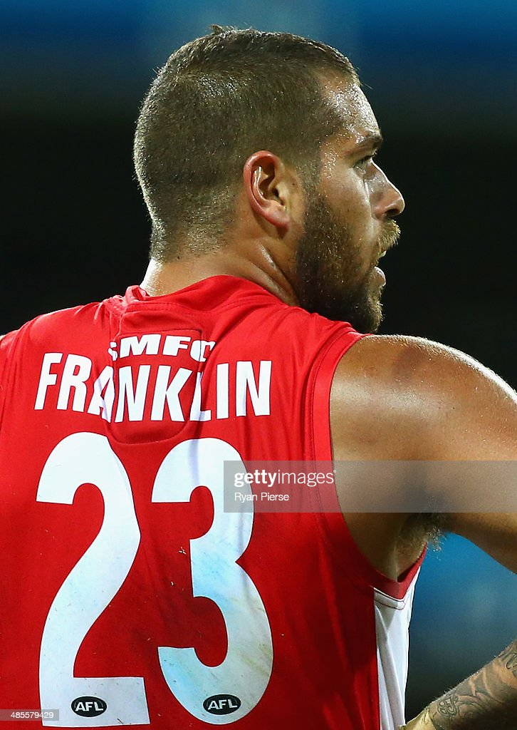 <a gi-track='captionPersonalityLinkClicked' href=/galleries/search?phrase=Lance+Franklin&family=editorial&specificpeople=561332 ng-click='$event.stopPropagation()'>Lance Franklin</a> of the Swans is seen with his name on his jumper during the round five AFL match between the Sydney Swans and the Fremantle Dockers at Sydney Cricket Ground on April 19, 2014 in Sydney, Australia.
