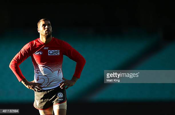 Lance Franklin of the Swans looks on during a Sydney Swans AFL training session at Sydney Cricket Ground on June 24 2014 in Sydney Australia
