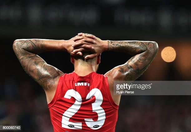 Lance Franklin of the Swans looks on during the round 14 AFL match between the Sydney Swans and the Essendon Bombers at Sydney Cricket Ground on June...