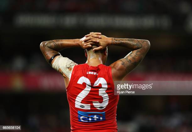 Lance Franklin of the Swans looks on during the round three AFL match between the Sydney Swans and the Collingwood Magpies at Sydney Cricket Ground...
