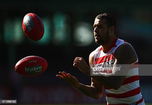Lance Franklin of the Swans trains during a Sydney Swans AFL training session at Sydney Cricket Ground on April 28 2015 in Sydney Australia