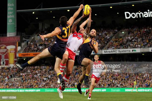 Lance Franklin of the Swans tries to mark the ball during the round four AFL match between the West Coast Eagles and the Sydney Swans at Domain...