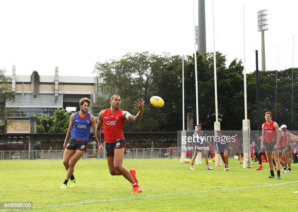 Lance Franklin of thre Swans trains during a Sydney Swans AFL training session at Lakeside Oval on March 8 2017 in Sydney Australia
